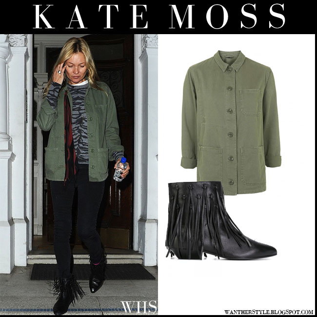 Kate Moss in green utility Topshop shirt jacket, black skinny jeans and black Saint Laurent fringed ankle boots what she wore july 31