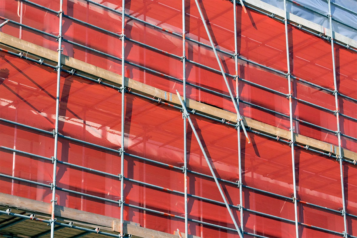 scaffolding with a red cloth