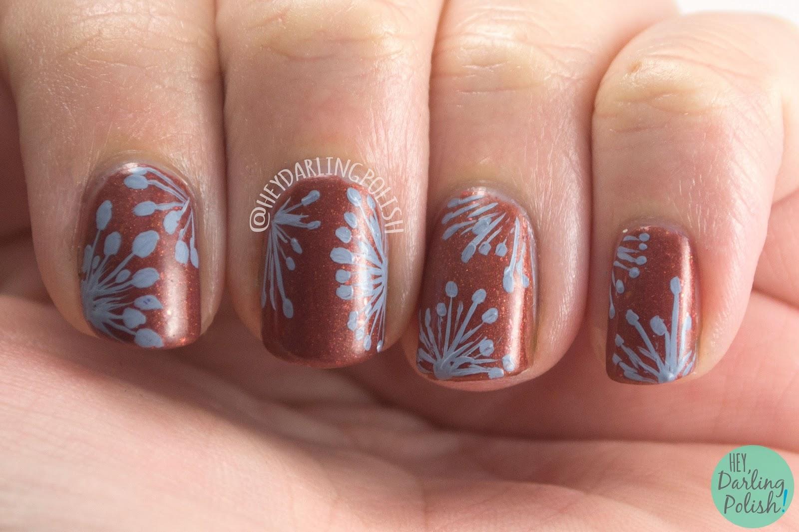 nails, nail art, nail polish, wallpaper, hey darling polish, copper, brown, floral, pattern