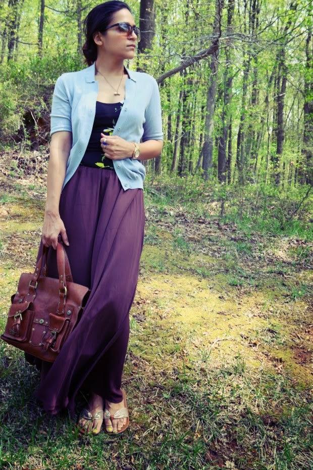 Sky Blue Cardigan, Brown Maxi Skirt, Floral Tank, Tanvii.com