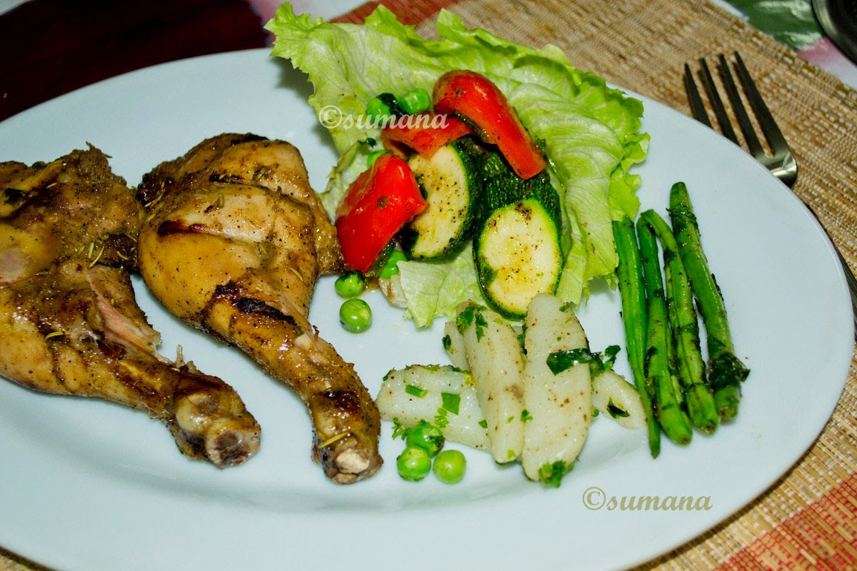 Easy chicken roast recipe prepared with honey and orange sauce and served with butter tossed vegetables