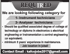 20.04.2017 URGENTLY REQURIED INSTRUMENT TECHNICIANS AND ANALYSER TECHNICIANS JOB IN KSA VISA NOT TH