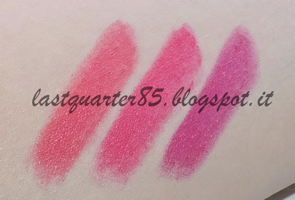 Swatch Wjcon Lipstick Matt Sublime: da sinistra a destra 607, 609 e 611. Con flash.