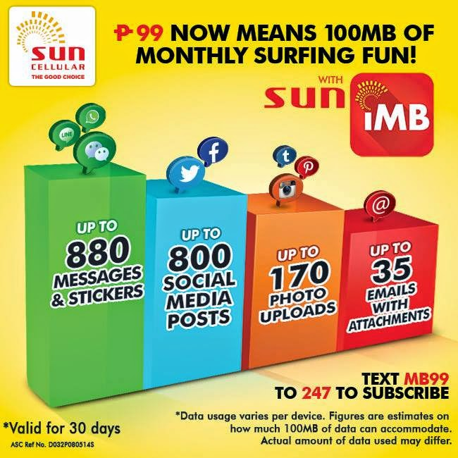 Sun Postpaid iMB Promo - 100MB Mobile Internet for Additional 99 Pesos a Month