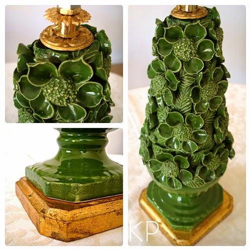 Lámparas de cerámica de manisses y porcelana con pie de madera dorado con pan de oro