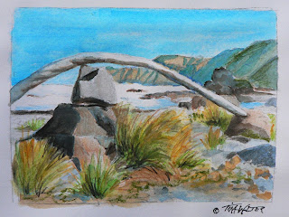 """Skyline"" 3.5""x 4.5"" watercolor sketch on paper, ©2015 Tina M.Welter  Rock cairns near Island Bay, New Zealand."