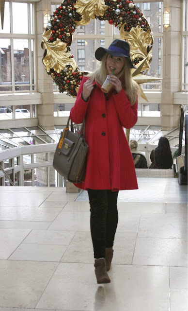 Shopping at the Prudential, Prudential Center, Winter Hat, Fashion Blogger, Boston, Christmas Shopping in Boston, A line coat, winter coat