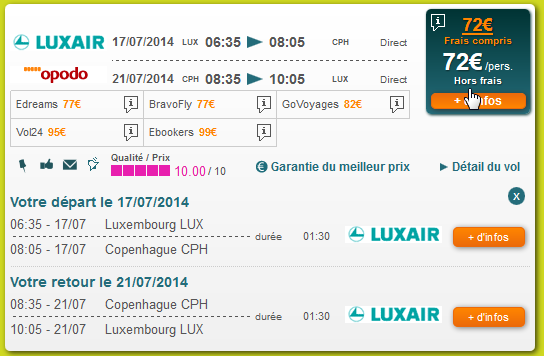 Luxair Copenhague Luxembourg