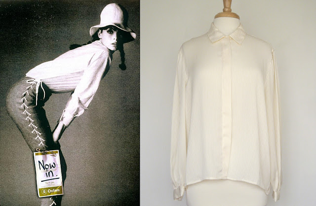 jean shrimpton, cream blouse, vintage cream blouse, cutandchicvintage