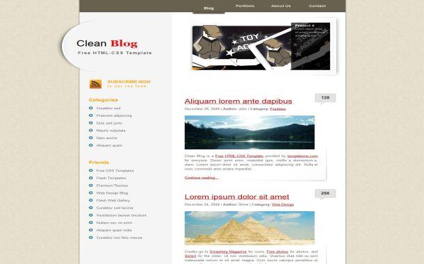 Free HTML Clean Grunge Blog CSS Website Template