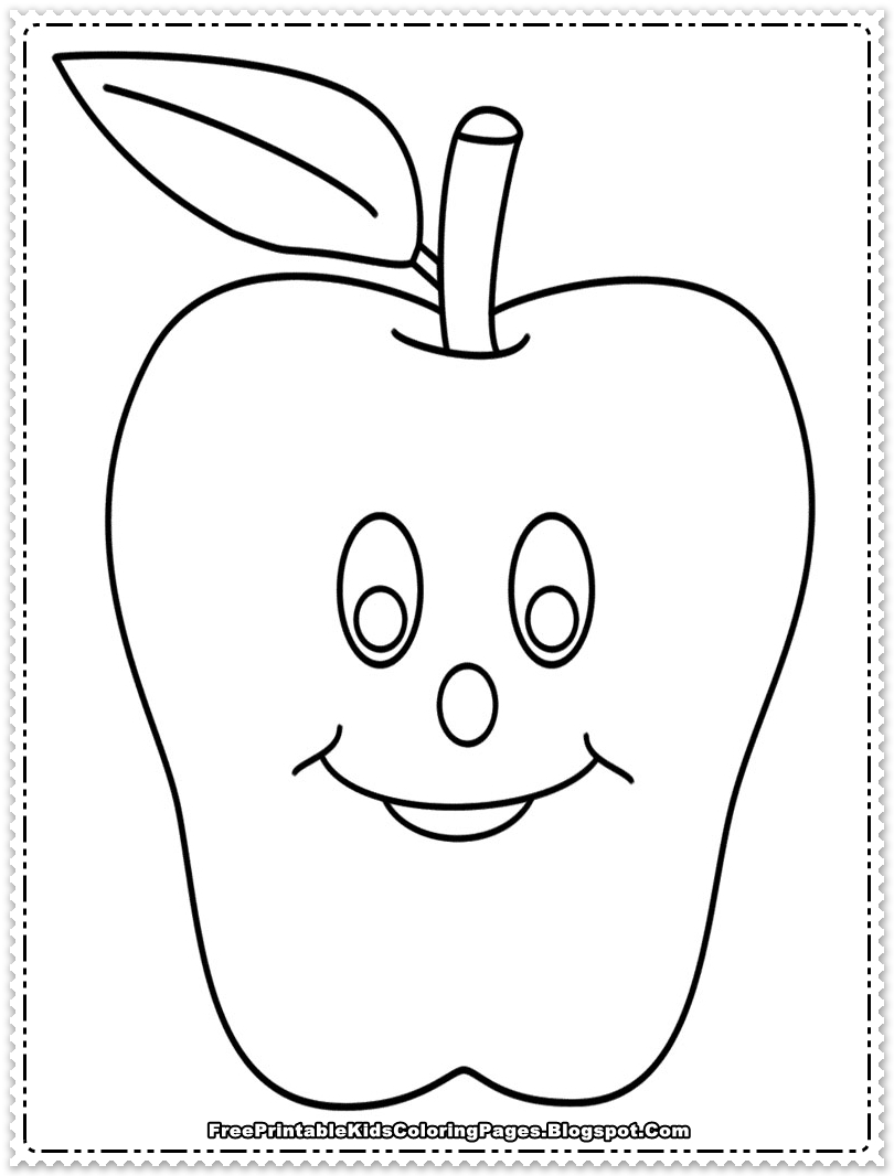 Apple fruit coloring pages printable free printable kids for Apple coloring pages
