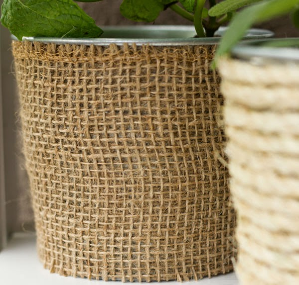 DIY burlap covered planter