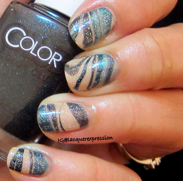 water marble nail art with obsessed by color club