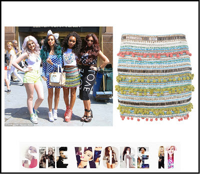 Bodycon, Embellished, Leigh-Anne Pinnock, Little Mix, Mini Skirt, Miss Selfridge, Multicoloured,  Skirt, T-shirt, Sequin, Bead