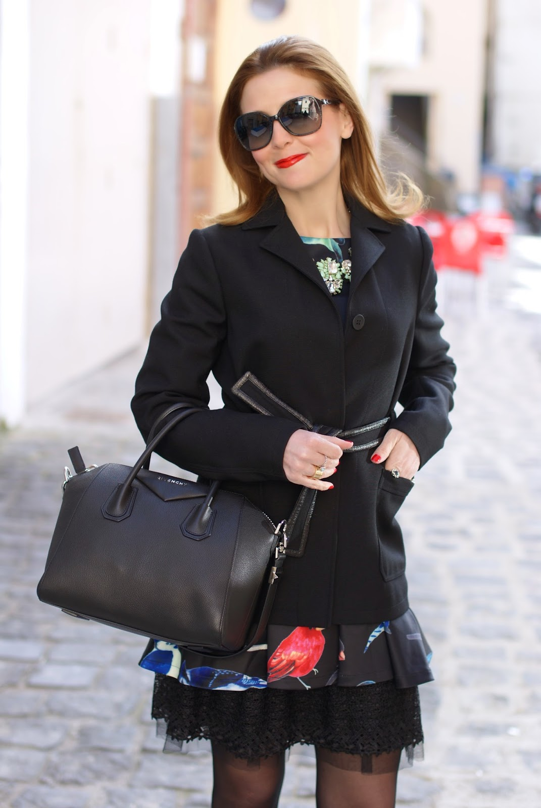 Balenciaga belted jacket, Givenchy Antigona bag, Fashion and Cookies, fashion blogger