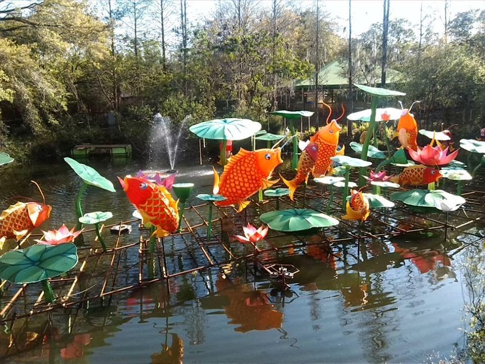 Coy pond lantern sculptures.