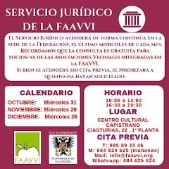 HORARIOS SERVICIO JURÍDICO FAAVVI (GRATUITO PARA SOCIOS DE LAS ASOCIACIONES VECINALES)