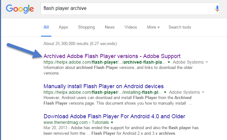 archived flash player versions