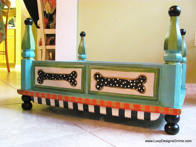 hand painted dog bed with dog bones