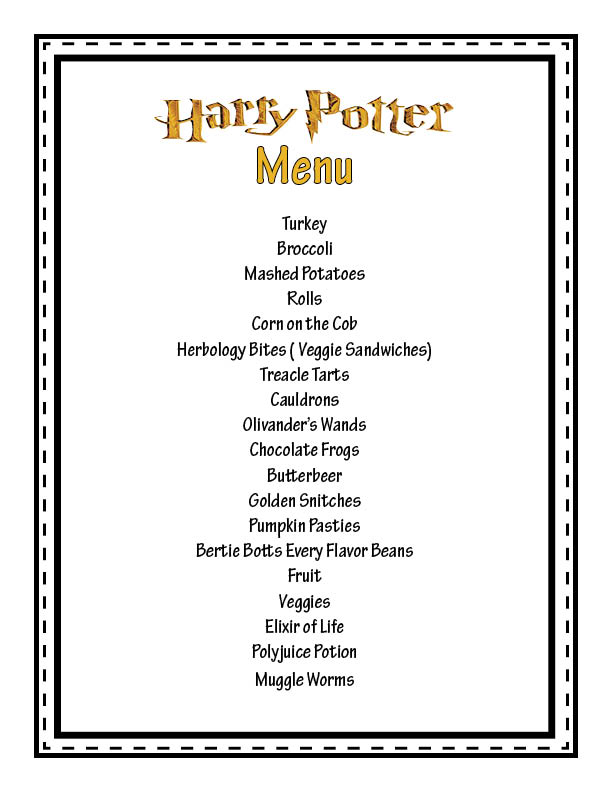 Living my life in Organized Chaos: Harry Potter Theme Dinner