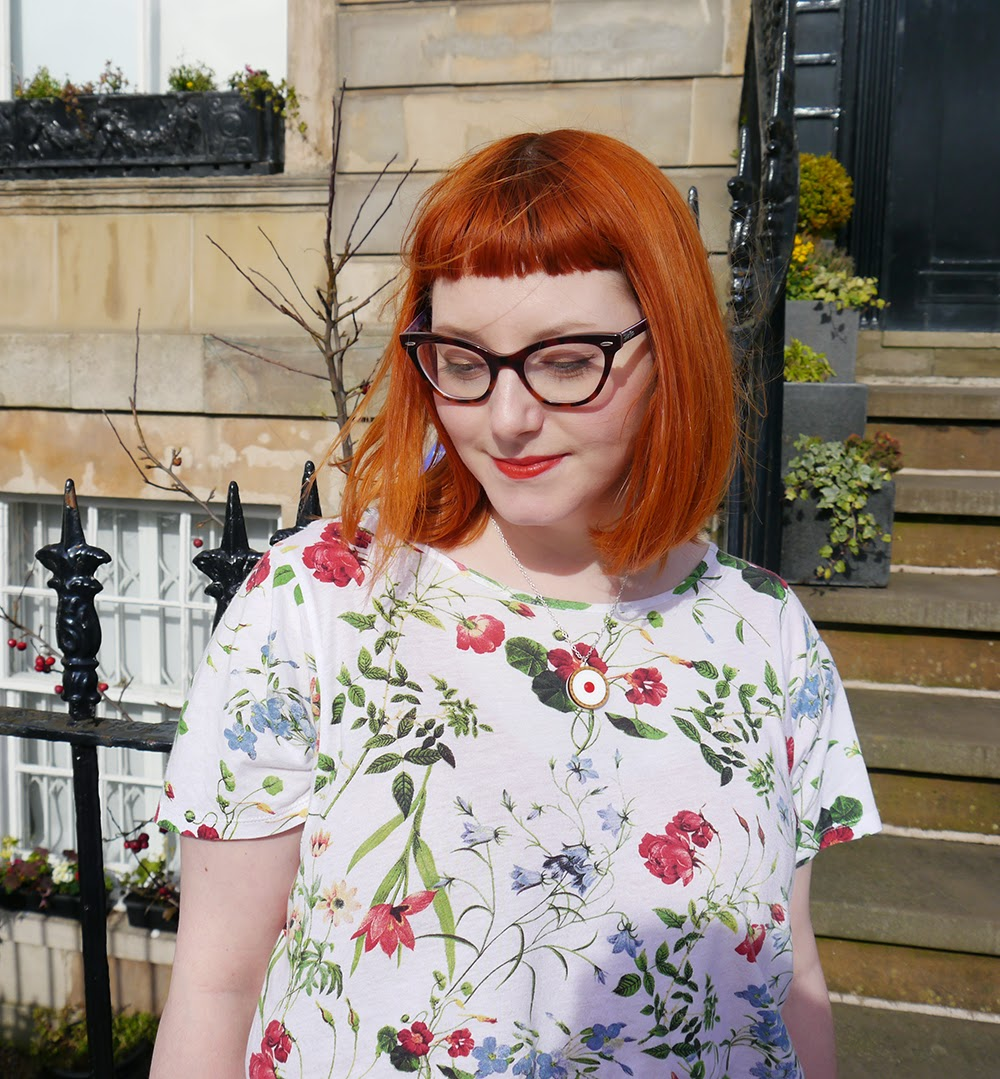 What Helen Wore, Scottish Blogger, Red Head, Glasgow, Hillary's Crafternoon, Sugar & Vice, cherry bakewell necklace, comfy style, bright colours, floral tee, Zara flower print tshirt, H&M red jersey dress, Zara brown boots, SewLomax day time sites bag