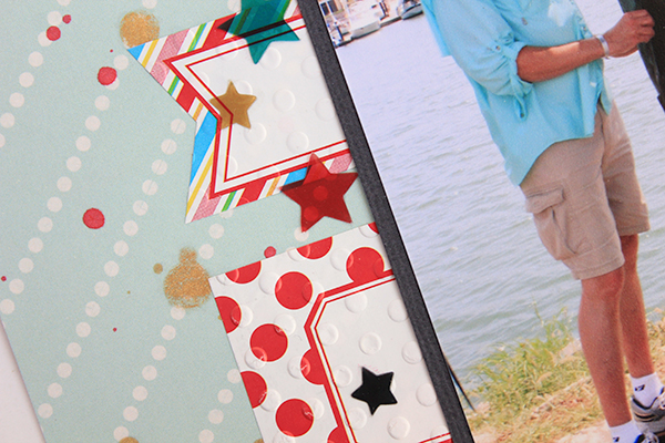 The Thrill of the Catch Scrapbook Layout detail by Juliana Michaels