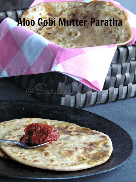 Aloo Gobi Mutter paratha / Cauliflower Peas potato paratha
