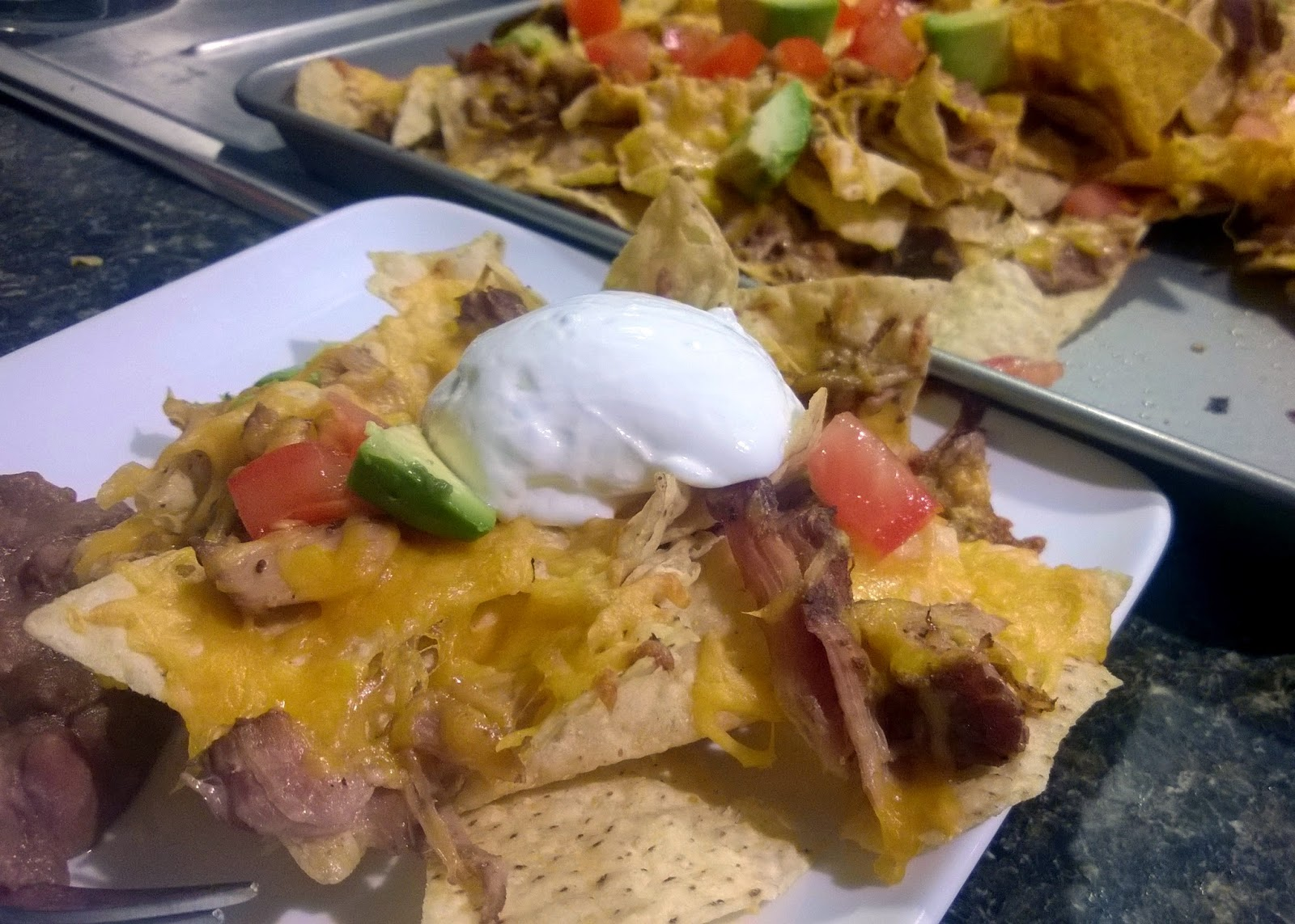 Nachos with pork carnitas
