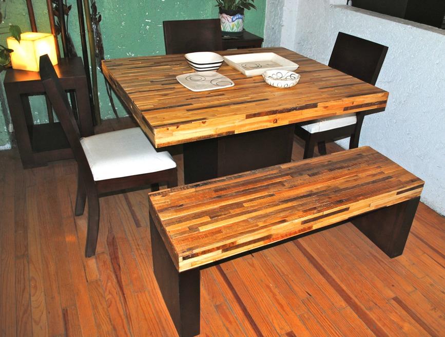 Muebles condesa muebles de madera reciclada - Comedor con banca ...