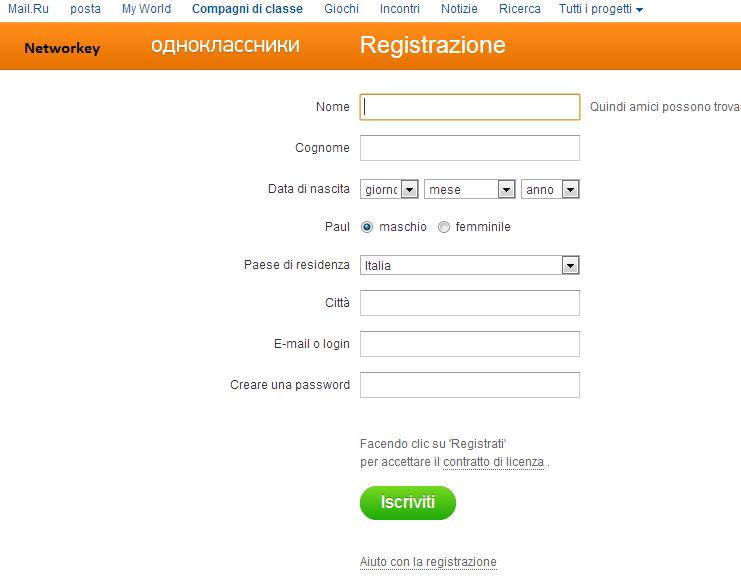 Odnoklassniki Italiano social