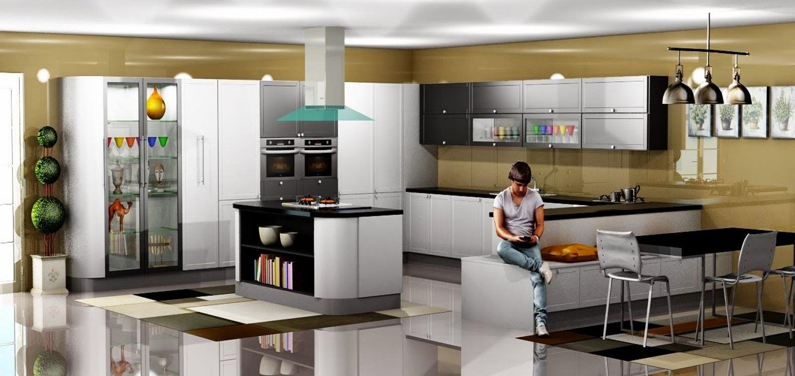 Dise o muebles de cocina cocina comedor con isla lacado for Diseno muebles cocina