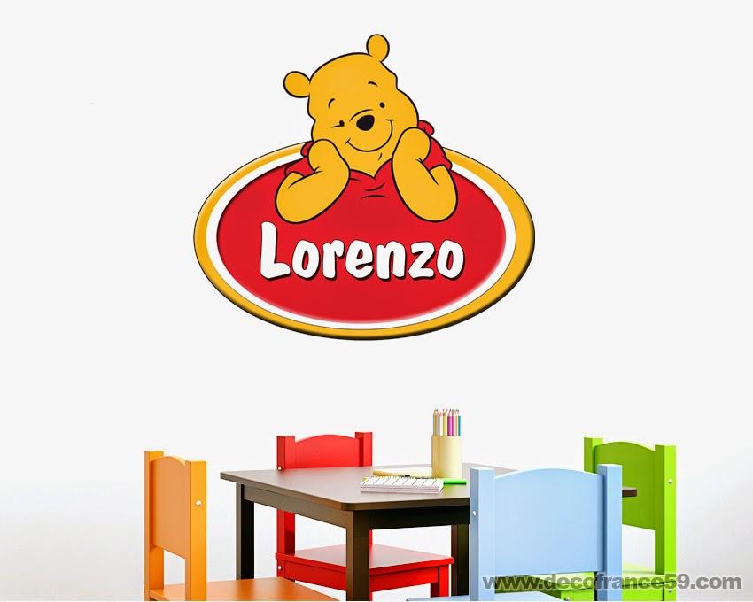 Sticker winnie l 39 ourson avec pr nom personnalisable - Lorenzo prenom ...