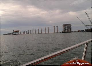 Second Penang Bridge, Jambatan Pulau Pinang Kedua, Jambatan Belum Siap, Laut, Jambatan Kontraktor dari China, Pemandangan dari Laut