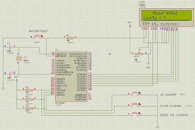 proton basic example project pic18f452 up and down counter with lcd