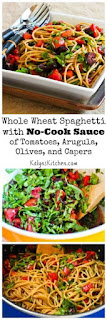Whole Wheat Spaghetti with No-Cook Sauce of Tomatoes, Arugula, Olives, and Capers (Meatless, Dairy-Free, Vegan) [from KalynsKitchen.com]