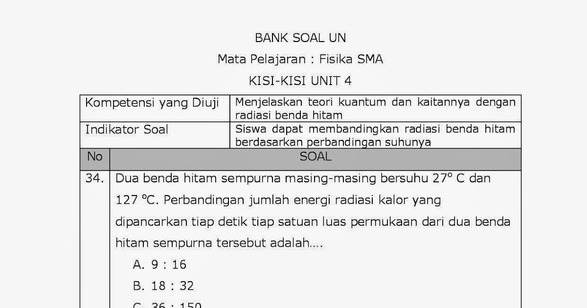 Achmad Saifudin 30 Pembahasan Soal Soal Un Fisika Radiasi Benda Hitam