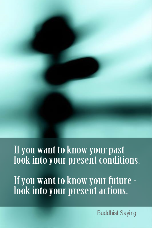 visual quote - image quotation for Self-aware - If you want to know your past - look into your present conditions. If you want to know your future - look into your present actions. - Buddhist Saying