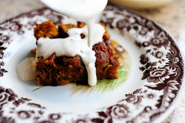 Pumpkin Bread Pudding with Spicy Caramel Apple Sauce by Bobby Flay ...
