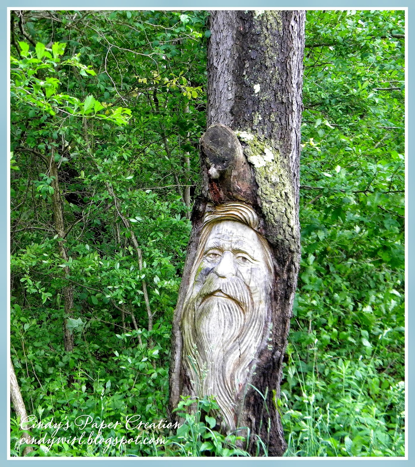 """The Man in the Tree"" carving by cindywirl.blogspot.com"