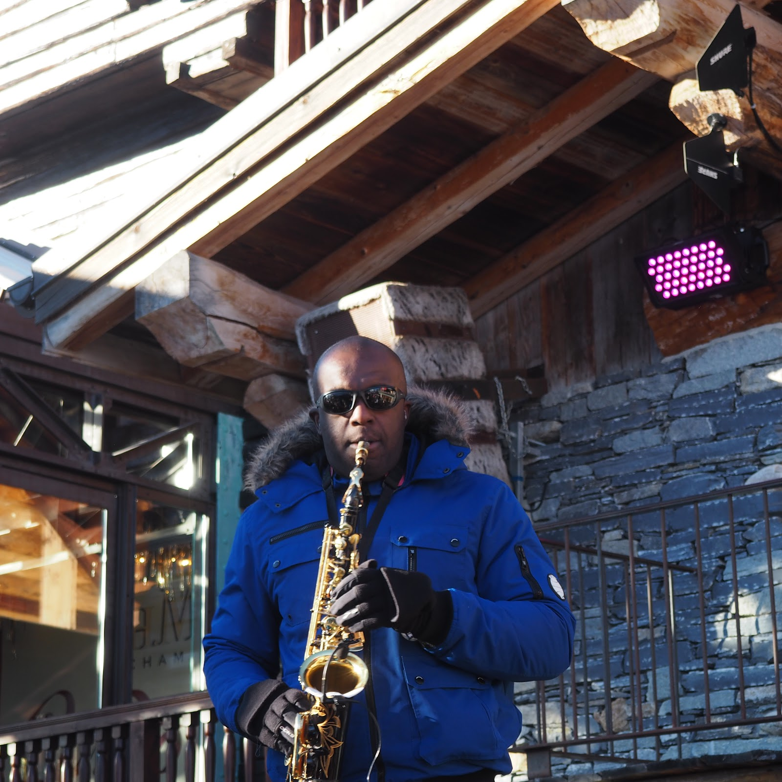 saxophone player at La Folie Douce, Val d'Isere, France
