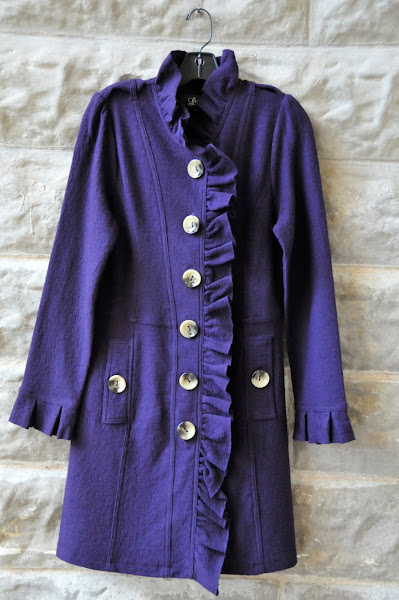 Plum boiled wool coat.  S-XL $128