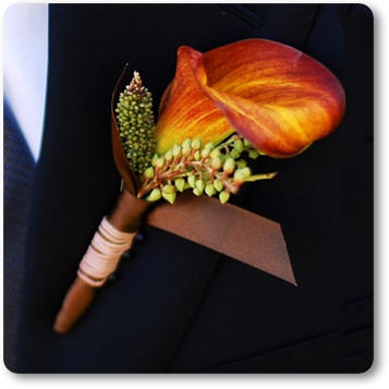 orange calla corsage, boutonniere orange calla