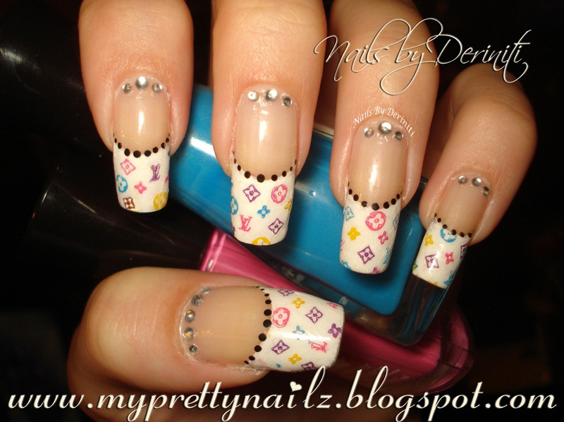 My Pretty Nailz: Louis Vuitton French Tips Nail Art Design & Video ...