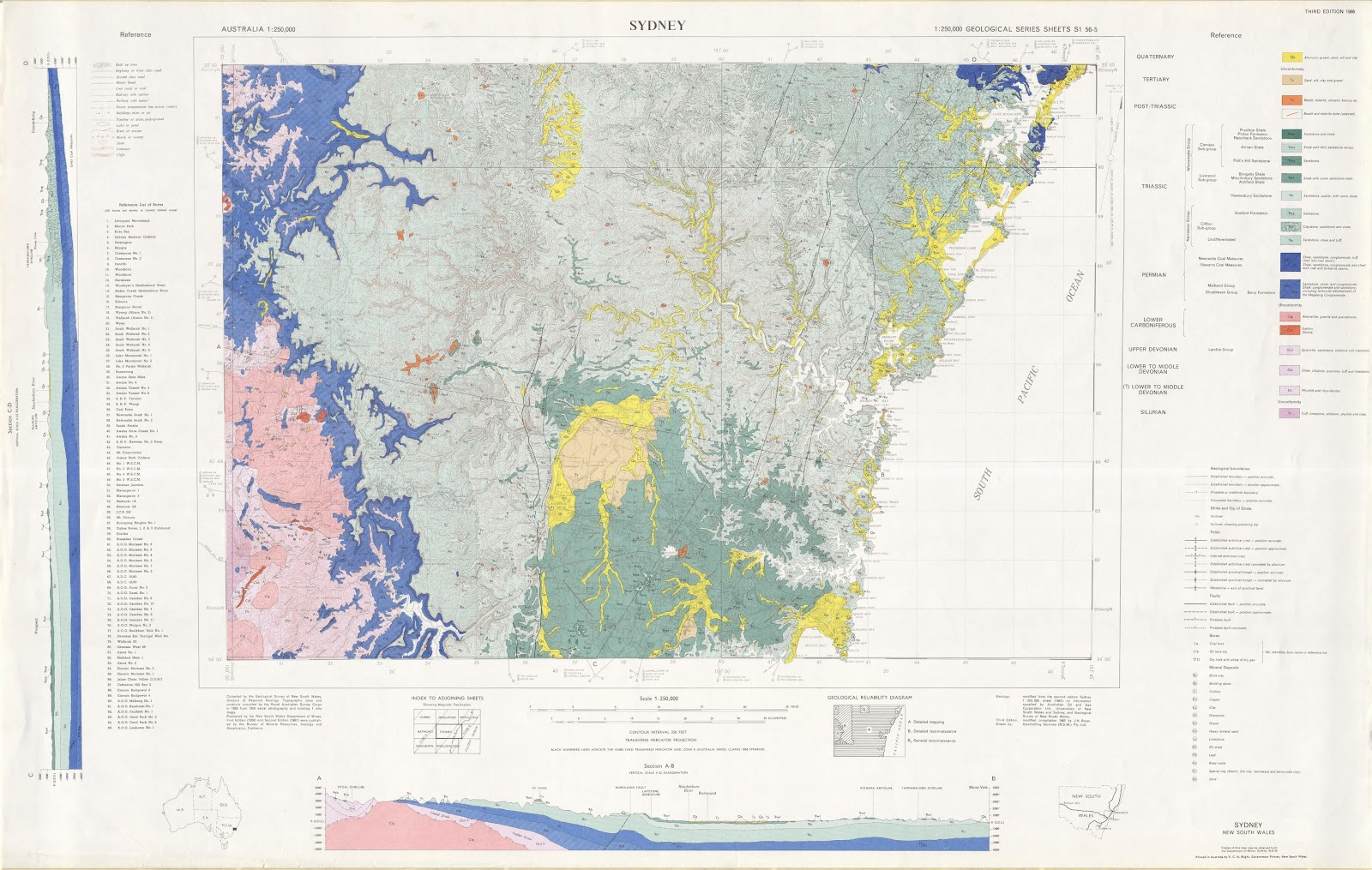 geological map of the sydney basin green and blue are sand clay and siltstone of the sydney basin and the pink represents the old mountain basement