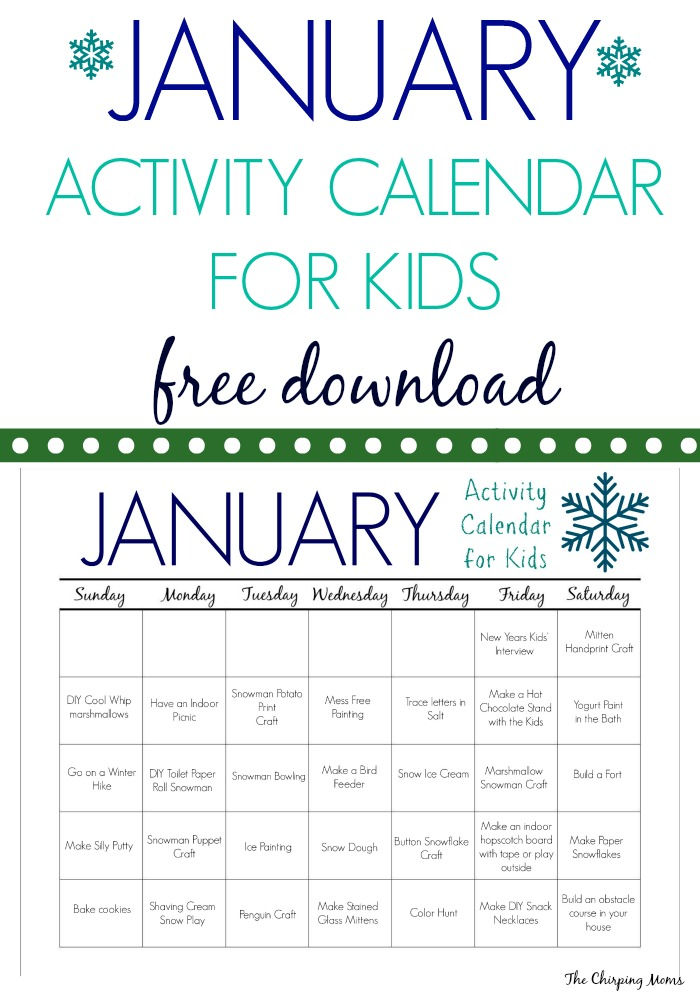 Calendar Lesson Ideas : January activities crafts for kids free activity