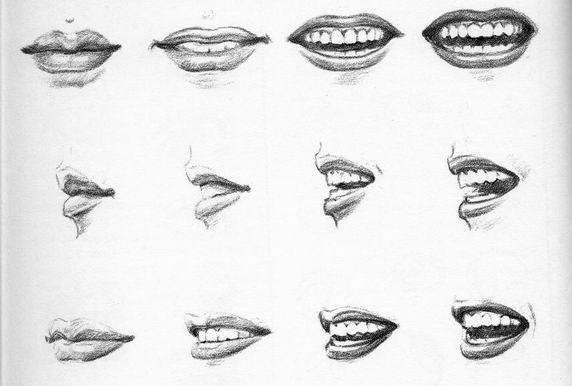 выражение губ, губы в пропорции, губы карандашом, рисунок губ