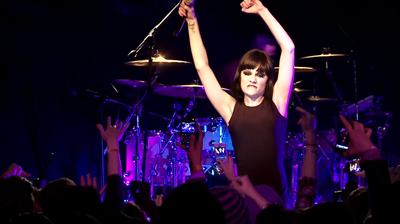 Jessie J, working the crowd, performing live in New York, 2010.