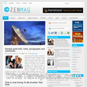 ZenMag blog template. magazine blogger template style. magazine style template blogspot. 3 column blogspot template