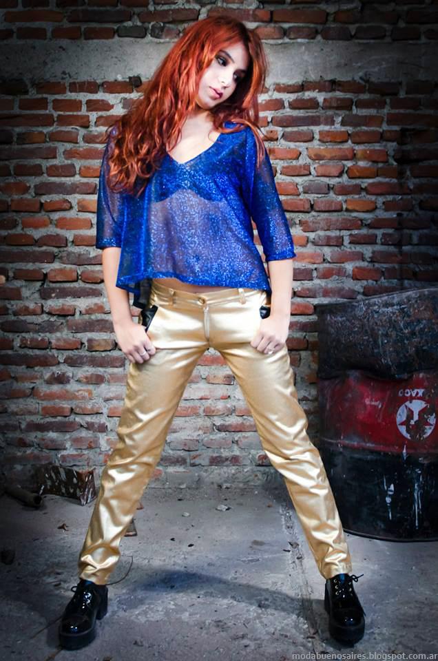 Pantalones dorados invierno 2014 Cintia Vegara.