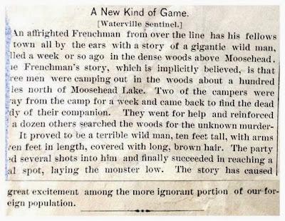 10 Foot Tall 'Wild Man' - Waterville Sentinel 10-8-1886